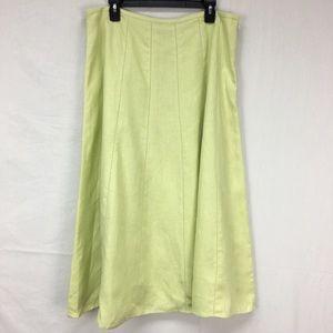 Talbots Green Linen Midi Skirt
